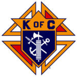 logo for Knights of Columbus. a white crest on a blue background, surrounded by orange, black, and red shapes.