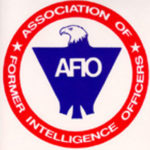 logo for Association of Former Intelligence Officers. A blue eagle inside a red outlined circle